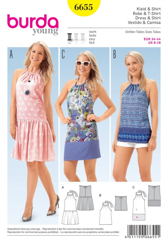 Halter Neck Sewing Pattern Misses Halterneck Tie Dresses And Top Burda Young Sewing Pattern 6655