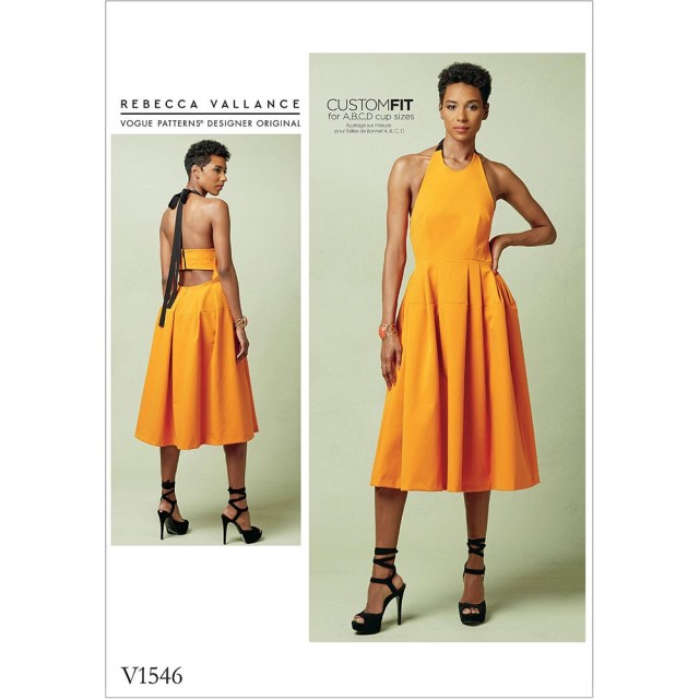 Halter Neck Sewing Pattern Misses Lined Pleated Halter Dress With Neck Tie Vogue Sewing Pattern