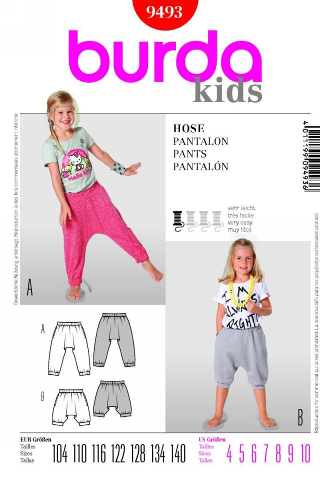 Harem Pants Sewing Pattern Burda 9493 Pants Sewing Inspiration For Kids Clothes Pinterest