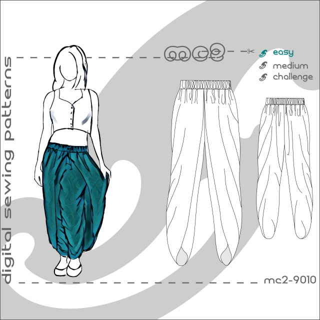 Harem Pants Sewing Pattern Tulip Shape Dhoti Harem Pants Salwar With Wraps Sizes Etsy