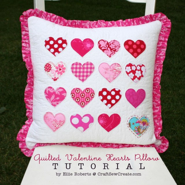 Heart Pillow Sewing Pattern Craft Sew Create Quilted Valentine Hearts Pillow Tutorial