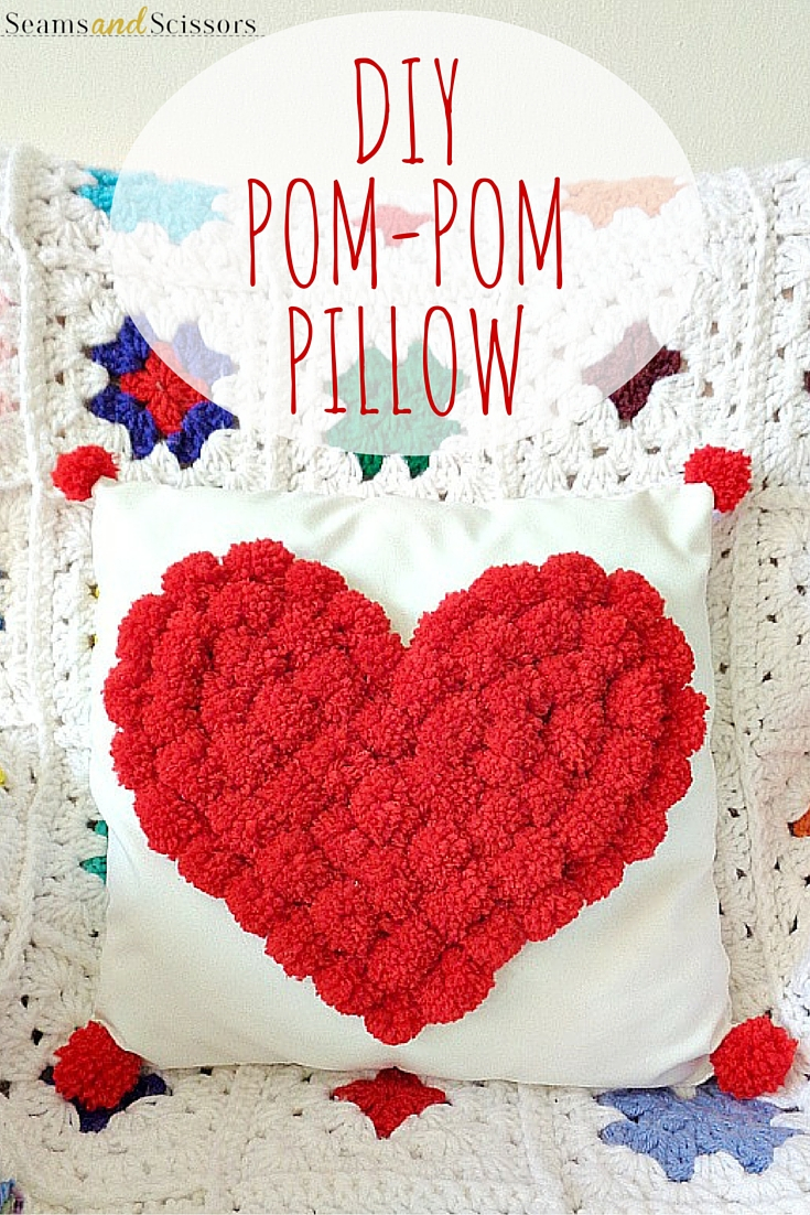 Heart Pillow Sewing Pattern Diy Pom Pom Heart Pillow From Running With A Glue Gun Seams And