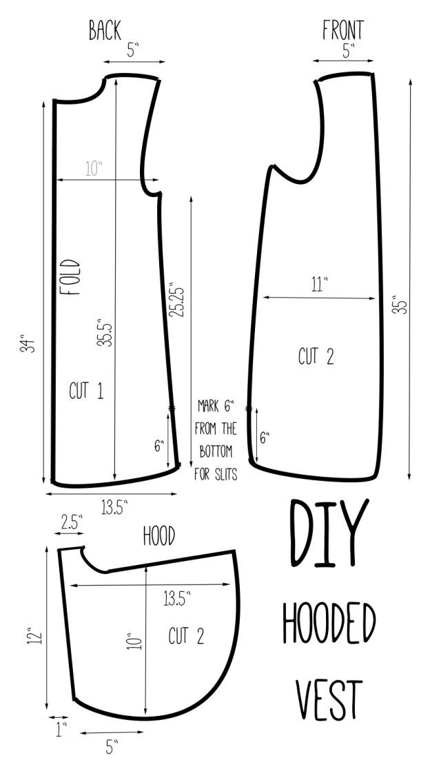 Hood Sewing Pattern Diy Hooded Vest Drafting Pinterest Sewing Sewing Projects I