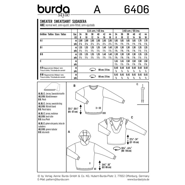 Hoodie Sewing Pattern Burda Style Pattern B6406 Misses Tops And Hoodies With Rib Knit Bands