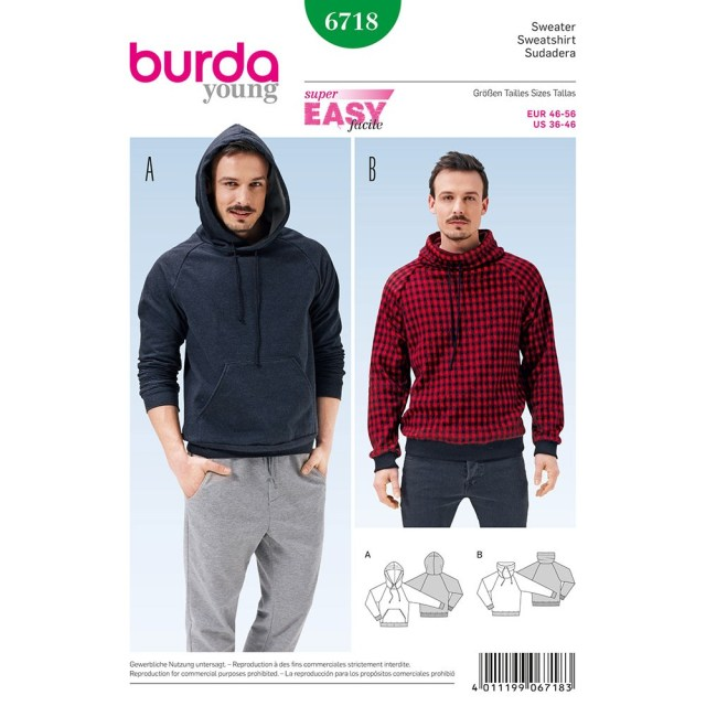 Hoodie Sewing Pattern Mens Pullover Hoodie Burda Sewing Pattern No 6718 Size 36 46