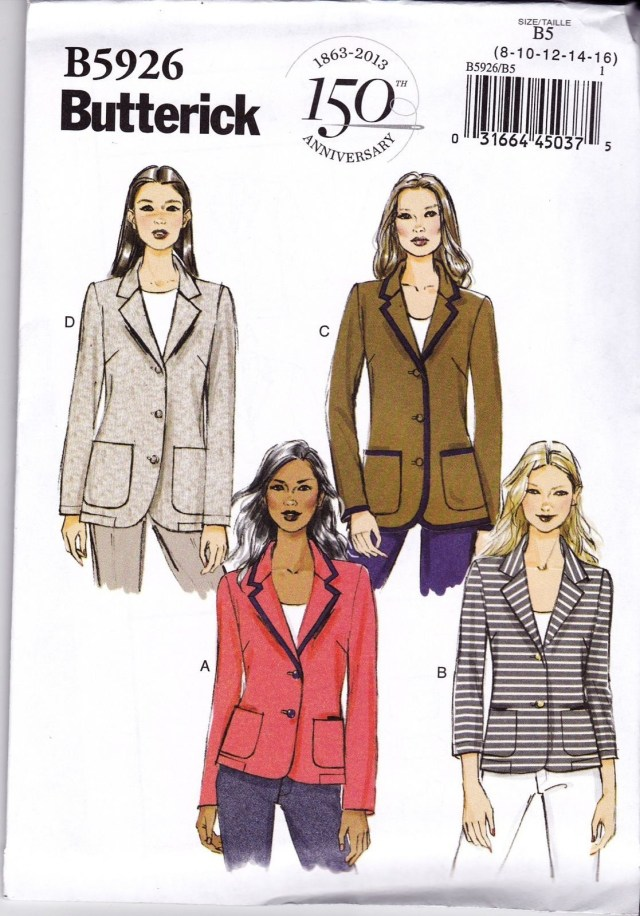 Jacket Sewing Patterns Butterick Sewing Pattern Misses Fitted Unlined Jacket Collar Pockets