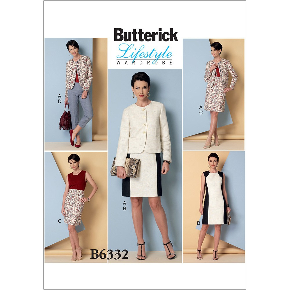 Jacket Sewing Patterns Misses Collarless Jacket Dress Skirt And Trousers Butterick Sewing