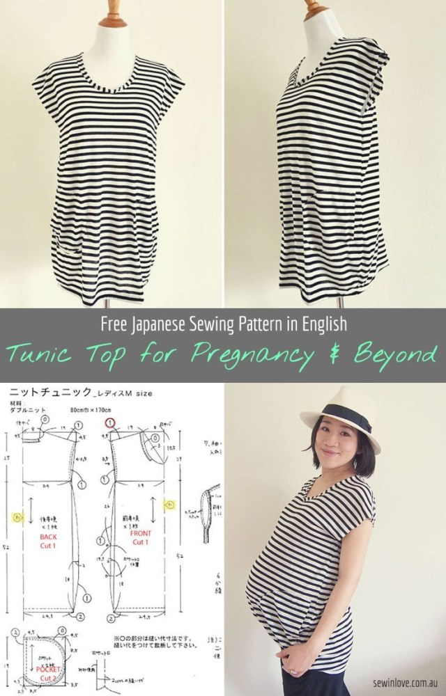 Japanese Sewing Patterns Diy Striped Tunic Top For Pregnancy And Beyond Free Sewing Pattern