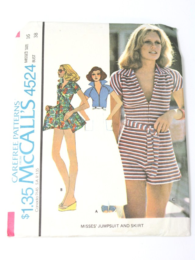 Jumpsuit Sewing Pattern 1970s Vintage Sewing Pattern 70s Mccalls Pattern No 4524 Womens