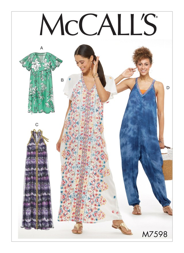 Jumpsuit Sewing Pattern Mccalls 7598 Misses Very Loose Fitting Dresses And Jumpsuit With