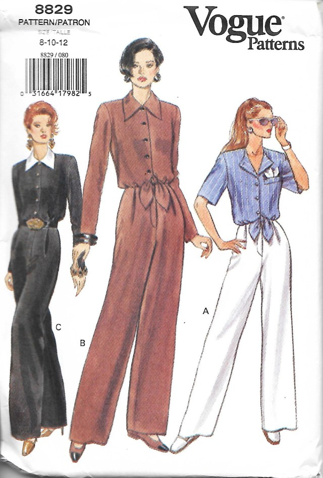 Jumpsuit Sewing Pattern Vogue 8829 Misses Easy Jumpsuit Sewing Pattern Size 8 12 Etsy