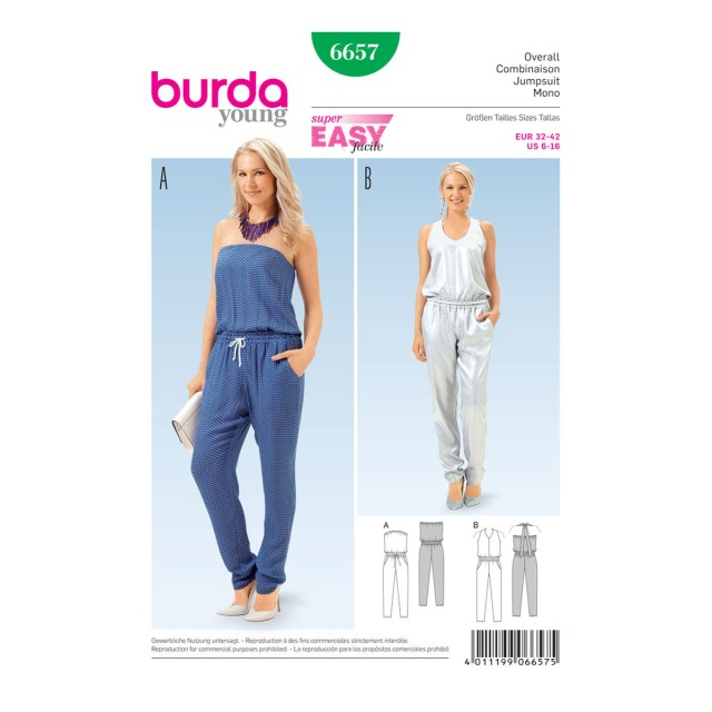 Jumpsuit Sewing Pattern Womens Jumpsuit Sewing Pattern Size 6 16 Burda Style Sewing