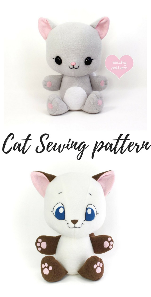 Kawaii Sewing Patterns Pdf Sewing Pattern Cuddle Kitten Stuffed Animal Easy Cat Cute