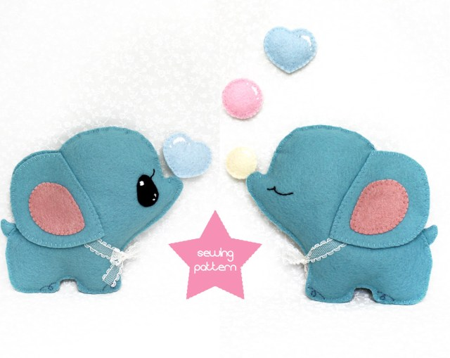 Kawaii Sewing Patterns Pdf Sewing Pattern Elephant Stuffed Animal Easy Beginner Etsy