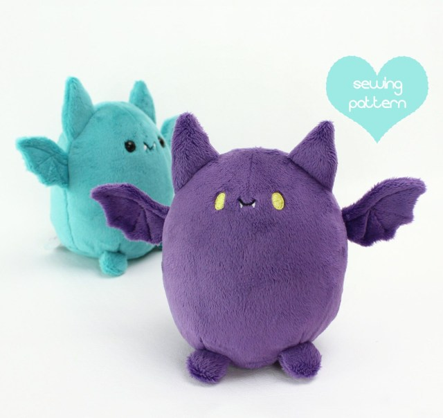 Kawaii Sewing Patterns Pdf Sewing Pattern Fat Bat Halloween Kawaii Plushie Cute Easy