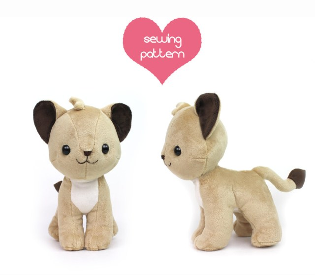 Kawaii Sewing Patterns Pdf Sewing Pattern Lion Cub Stuffed Animal Chibi Cat Etsy
