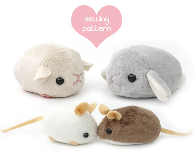 Kawaii Sewing Patterns Pdf Sewing Pattern Stuffed Animal Hamster Mouse Rat Guinea Etsy