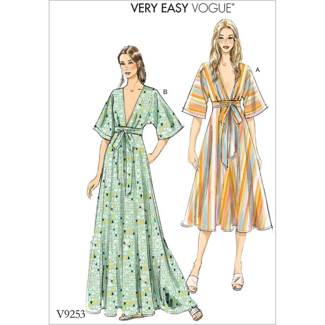 Kimono Sewing Pattern Misses Deep V Kimono Style Dresses With Self Tie Vogue Sewing