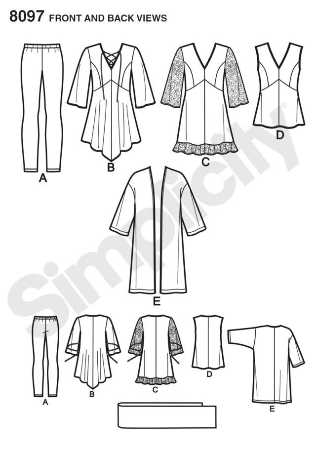 Kimono Sewing Pattern Simplicity 8097 Plus Size Tunic Top Kimono And Knit Leggings
