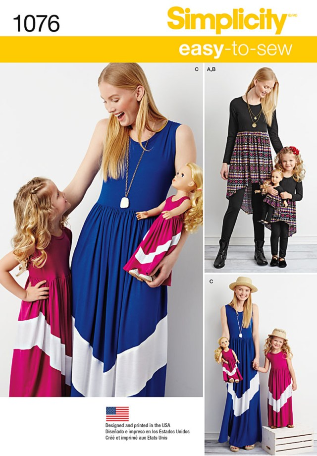 Maxi Dress Sewing Pattern Simplicity 1076 Childs And Misses Maxi Dress And 18 Doll Clothes