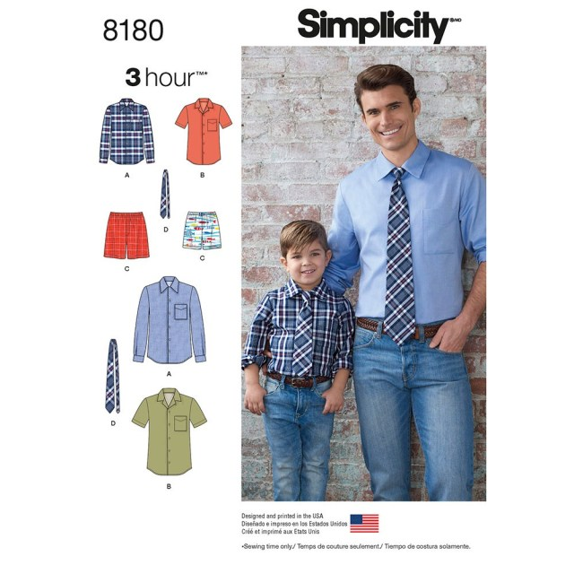 Mens Sewing Patterns Boys And Mens Shirt Boxer Shorts And Tie Simplicity Sewing Pattern