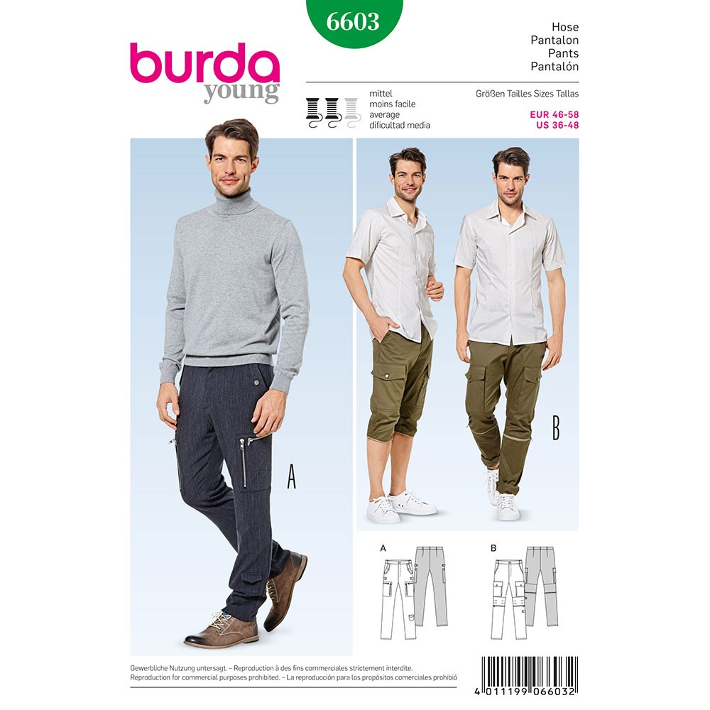 Mens Sewing Patterns Mens Trousers And Shorts Burda Sewing Pattern 6603 Sew Essential