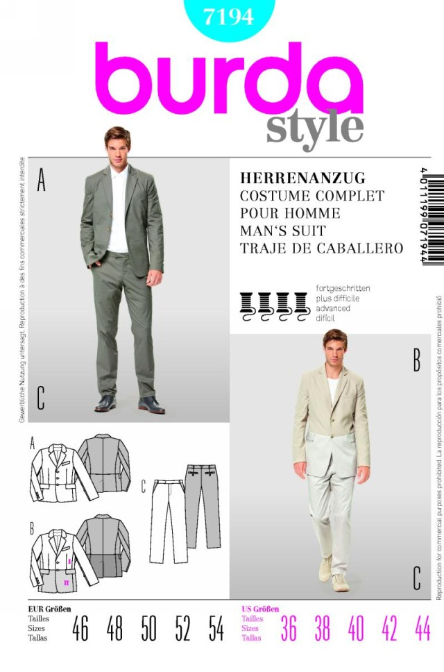 Mens Suit Sewing Patterns Burda 7194 Mens Suit