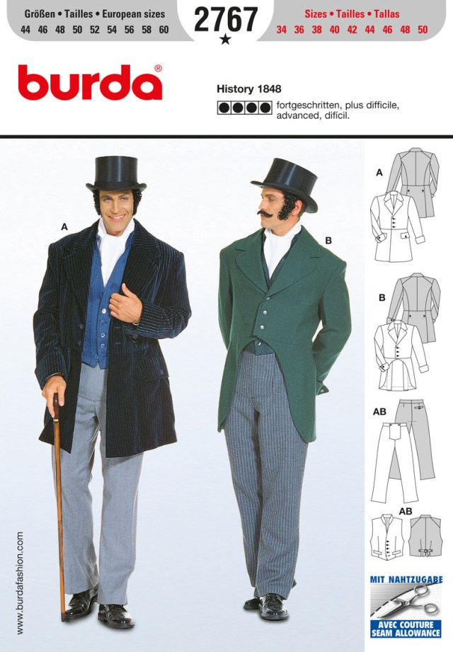 Mens Suit Sewing Patterns Burda Style B2767 History 1848 Costume Sewing Pattern