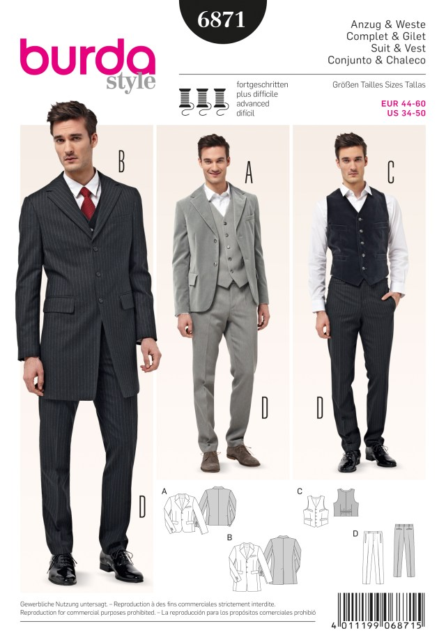 Mens Suit Sewing Patterns Burda Style B6871 Menswear Sewing Pattern