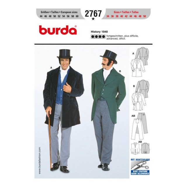 Mens Suit Sewing Patterns Mens Suit History 1848 Costume Sz 34 50 Burda Style Sewing
