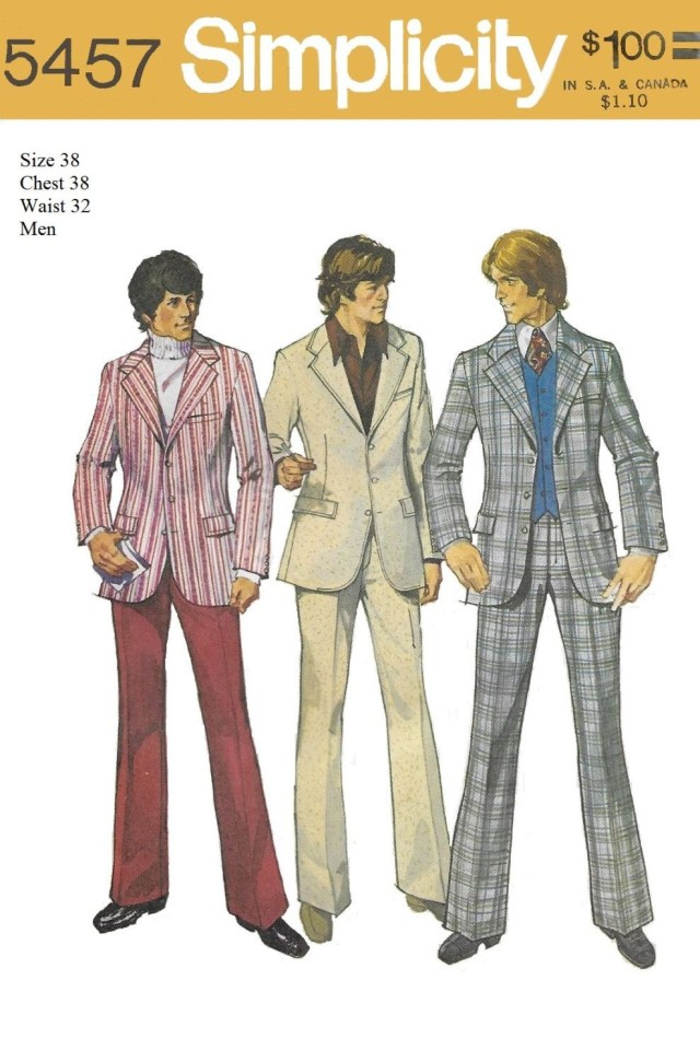 Mens Suit Sewing Patterns Simplicity 5457 Mens 70s Jacket Pants And Suit Sewing Pattern Chest