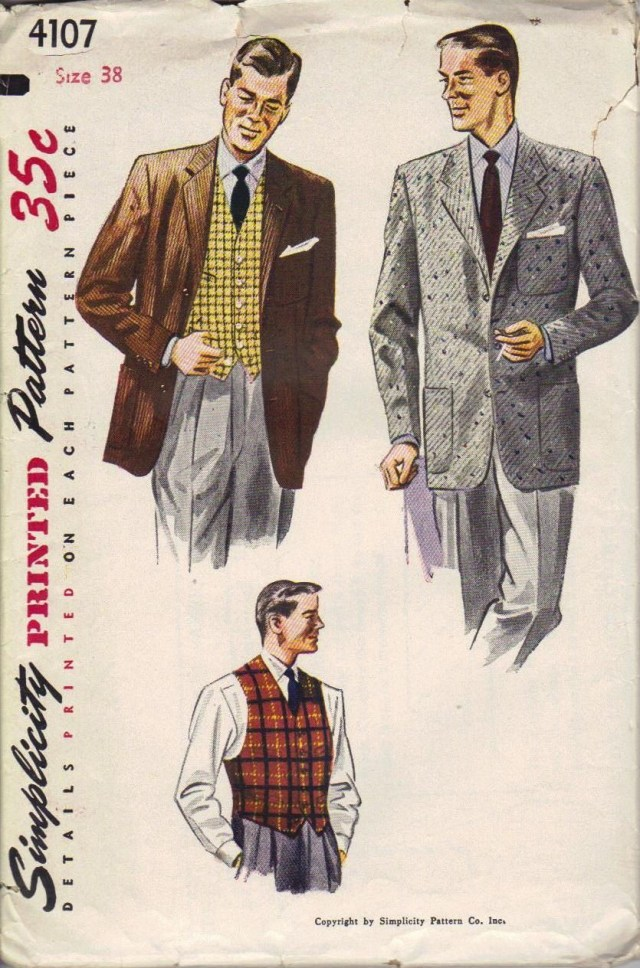 Mens Suit Sewing Patterns Simplicity Vintage Sewing Pattern 1940s Mens Jacket Vest Business