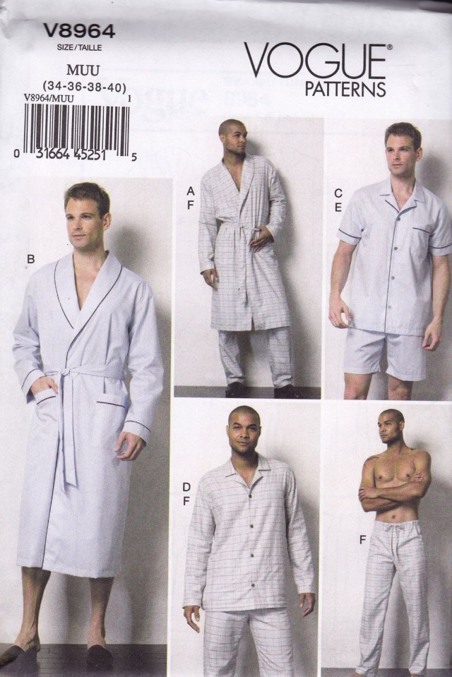 Mens Suit Sewing Patterns Vogue Easy Sewing Pattern Men S Robe Belt Top Shorts Pants Sizes