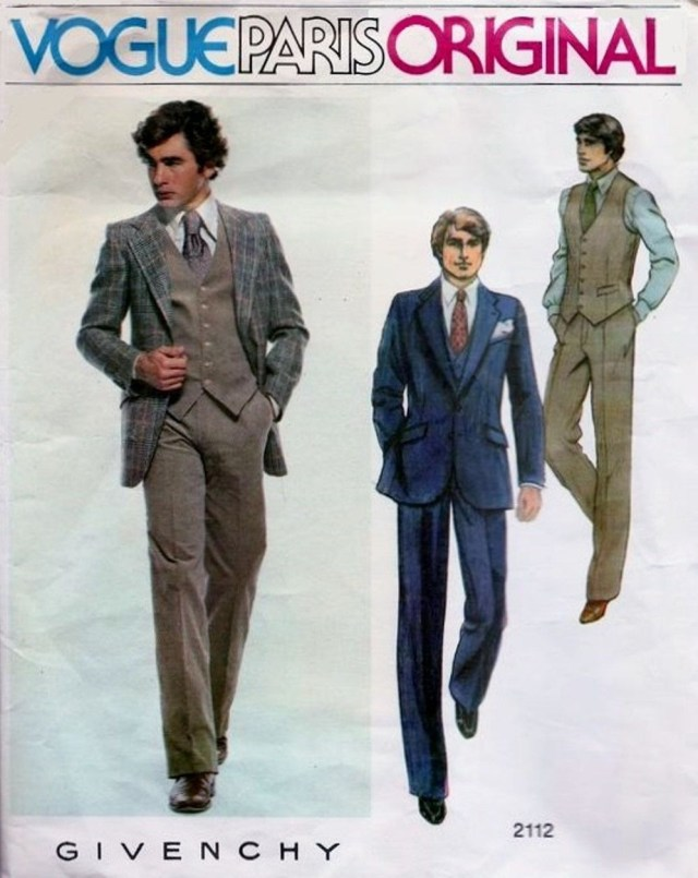 Mens Suit Sewing Patterns Vogue Paris Original 2112 Givenchy Men 3 Piece Suit Sewing Pattern