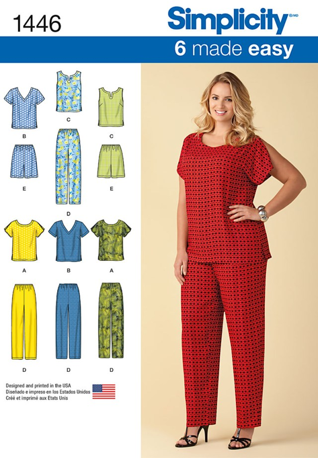 Plus Size Sewing Patterns 1446 Simplicity Pattern Six Made Easy Pull On Tops And Trousers Or
