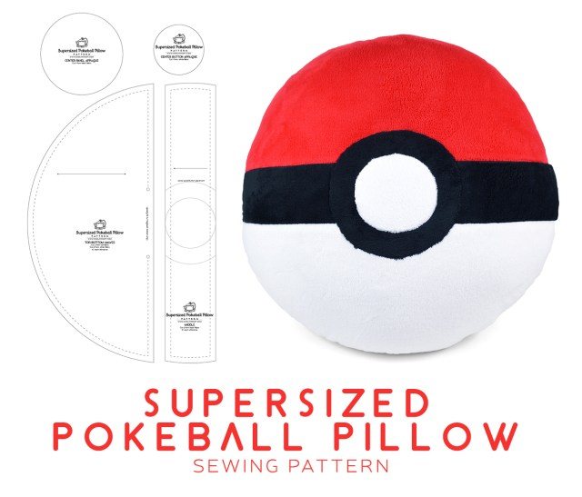 Pokemon Sewing Patterns Supersized Pokeball Pillow Sewing Pattern Sewdesune On Deviantart