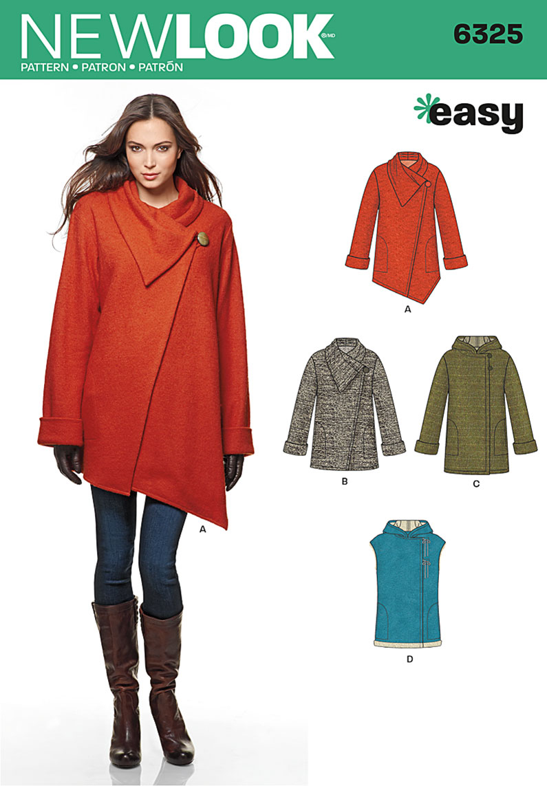 Poncho Sewing Pattern New Look 6325 Womens Easy Coat With Length And Front Variations