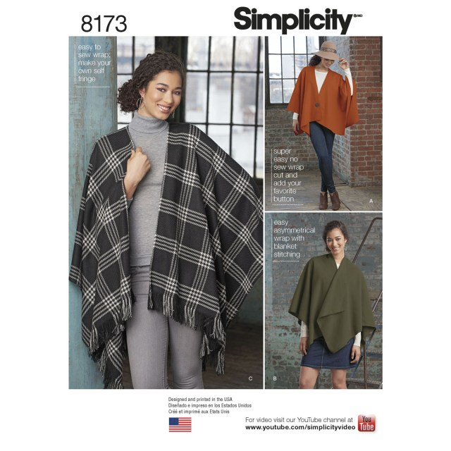 Poncho Sewing Pattern Simplicity 8173 Misses No Sew Poncho