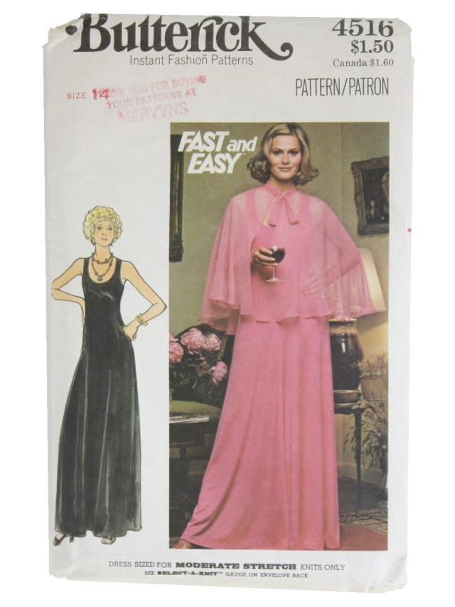 Prom Dress Sewing Patterns Retro 70s Sewing Pattern 70s Butterick Pattern No 4516 Womens