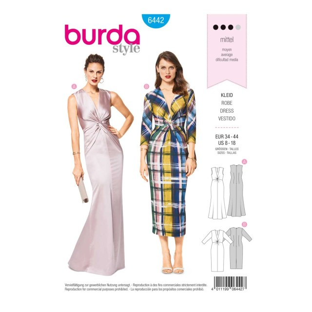 Prom Dress Sewing Patterns Womens V Neck Evening Dress 8 18 Burda Style Sewing Pattern