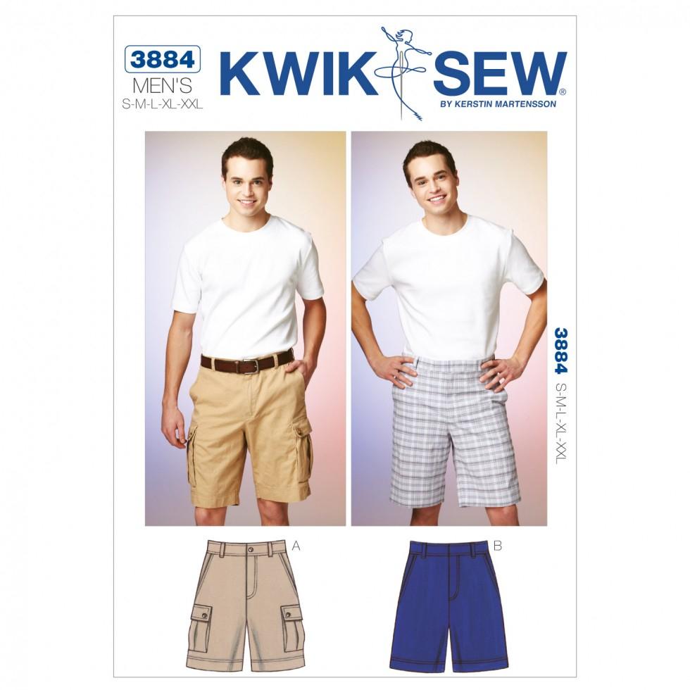 Quick Sew Patterns Kwik Sew Mens Sewing Pattern 3884 Shorts Cargo Shorts Sewing