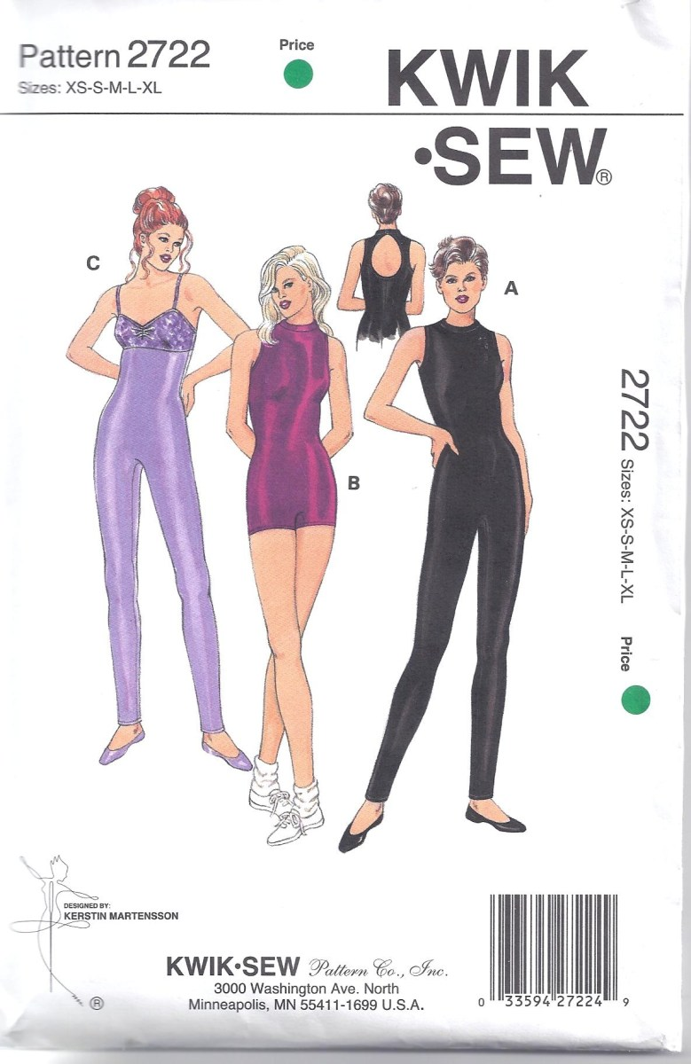 Quick Sew Patterns Kwik Sew Pattern 2722 Leotard Exercise Yoga Unitard Size Xs Xl