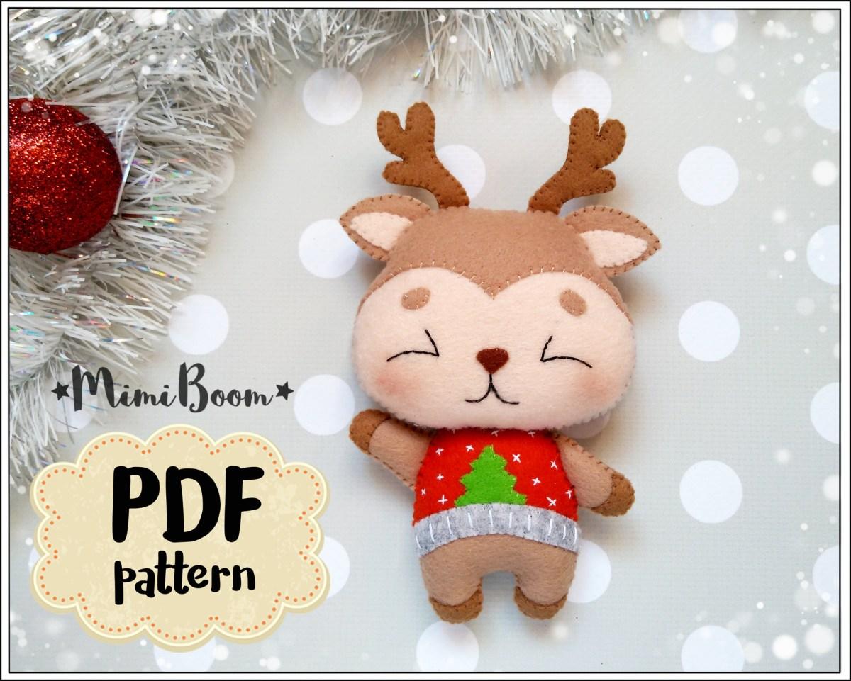 Reindeer Sewing Pattern Christmas Pattern Felt Rudolph Ornament Felt Pattern Reindeer Etsy