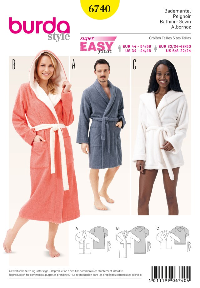Robe Sewing Pattern Burda B6740 Bath Robes Sewing Pattern