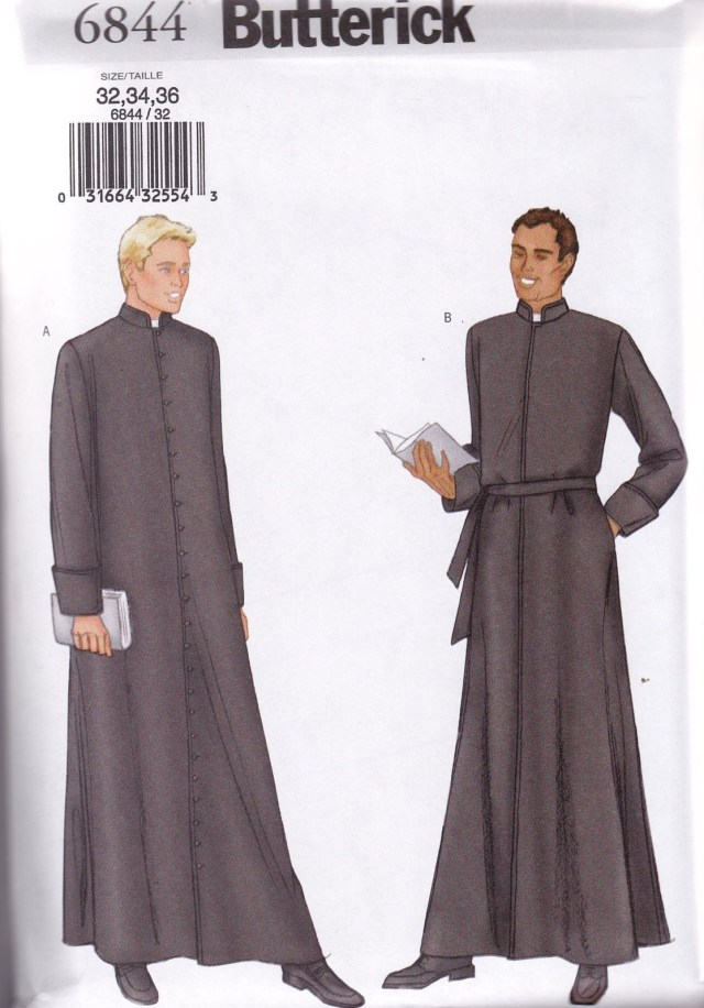 Robe Sewing Pattern Butterick Sewing Pattern Men S Robe Clergy Priest Pastor Vicar 32