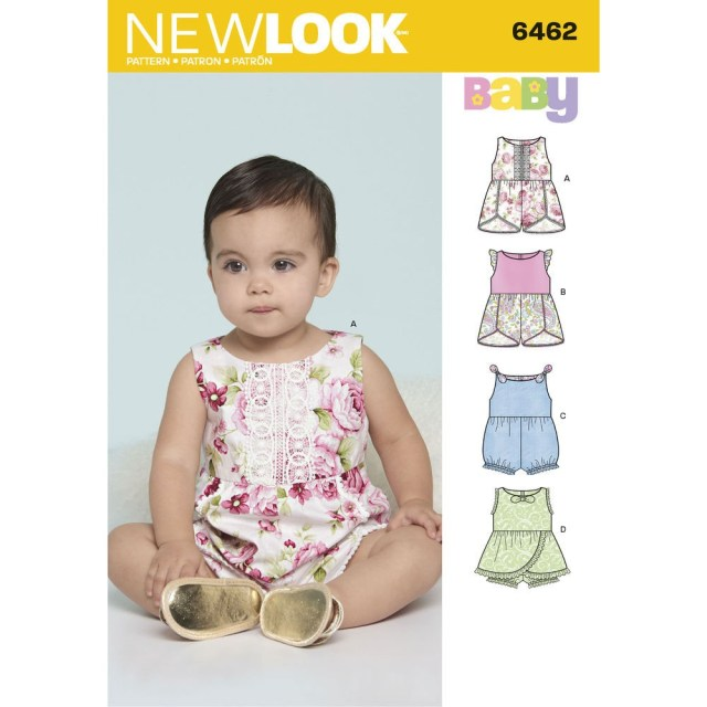Romper Sewing Pattern Babies Rompers With Trim Variations New Look Sewing Pattern 6462