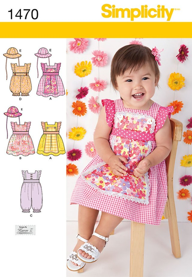 Romper Sewing Pattern Simplicity 1470 Babies Dress Romper And Hat In Three Sizes