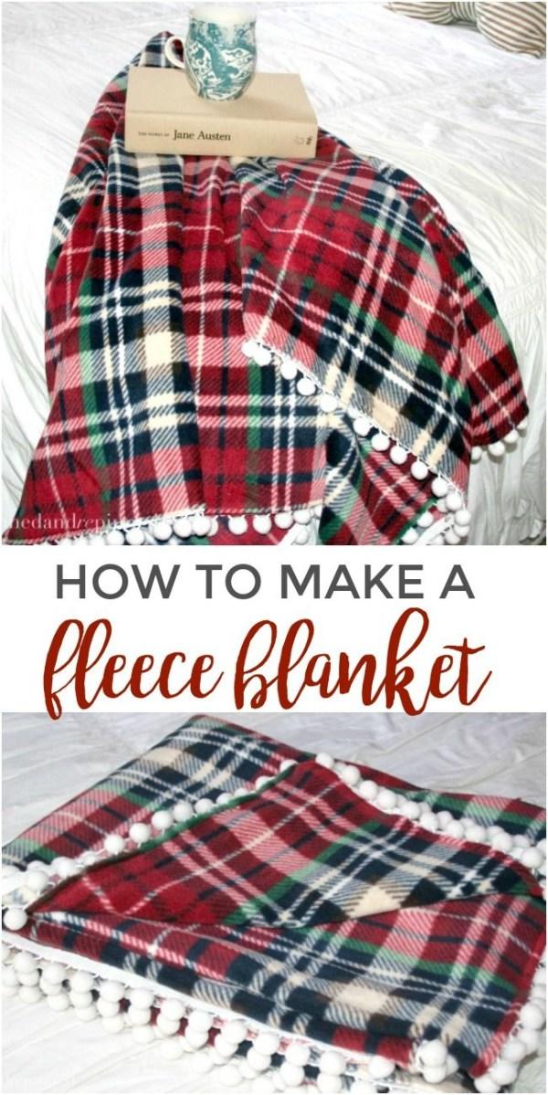 Sewing Blankets Ideas How To Make A Fleece Blanket With Pom Pom Trim Via Pinnedandrepinn