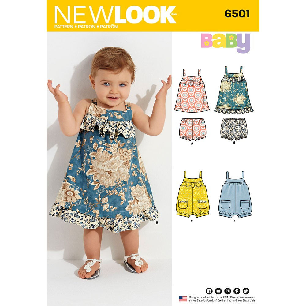 Sewing Patterns For Babies Babies Dress And Romper New Look Sewing Pattern 6501 Sew Essential