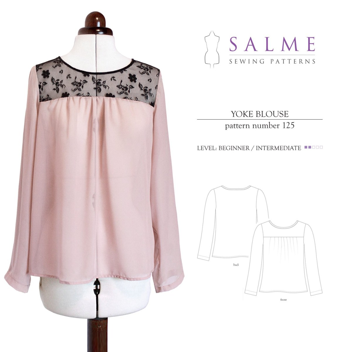 Sewing Patterns For Beginners Salme Sewing Patterns 125 Yoke Blouse Downloadable Pattern